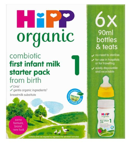 HiPP Organic Combiotic First Infant Milk from birth 6 x 90ml Starter pack