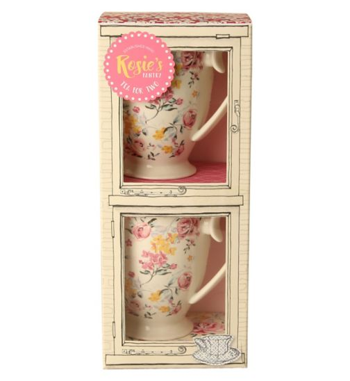 Rosie's Pantry Duo Mug Set - Two Decorated Porcelain Mugs