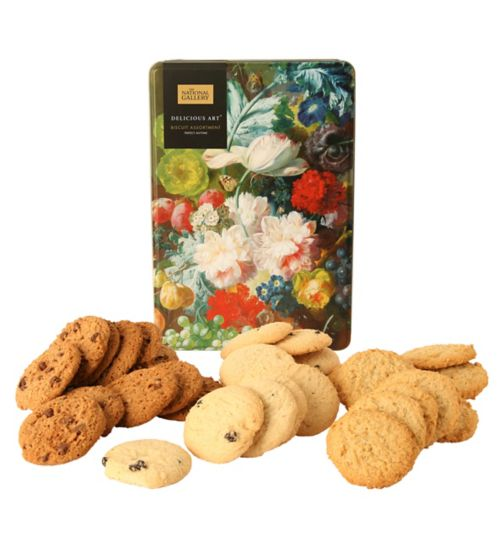 Delicious Art Decorated Biscuit Tin with biscuits
