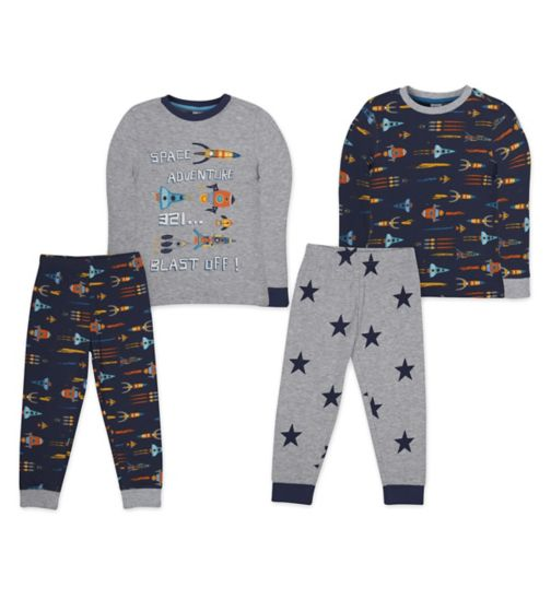 Mini Club 2 Pack Long Sleeve Rocket Pyjamas