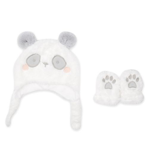 Mini Club Tiny Treasures Panda Hat and Mit Set