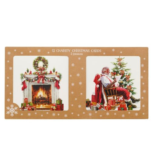 Boots Christmas Boxed Cards -Santa & Fireplace