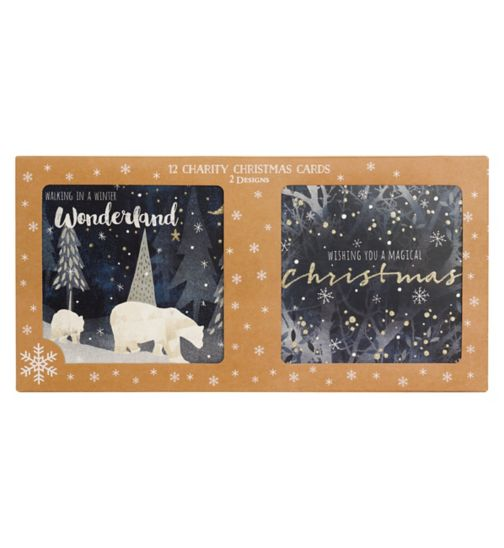 Boots Christmas Boxed Cards - Midnight Polar Bear