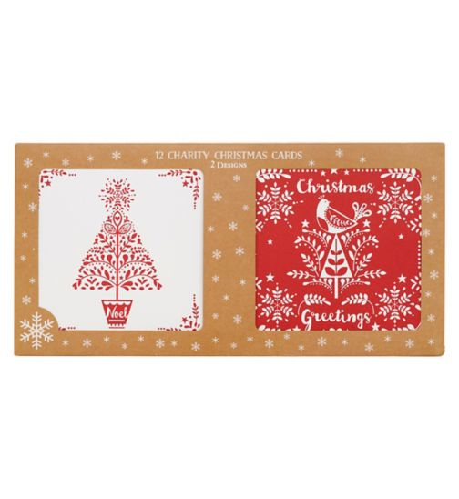 Boots Christmas Boxed Cards - Red & White Scandi
