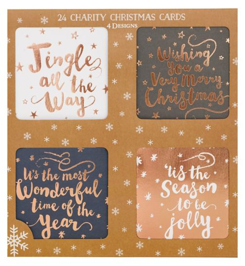 Boots Christmas Boxed Cards - Rose Gold Text