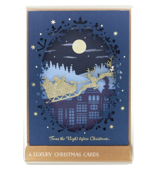 Boots Christmas Boxed Cards - High Premium Midnight Sleigh