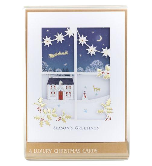 Premium Z-Fold Snowy Window House Scene Boxed Cards