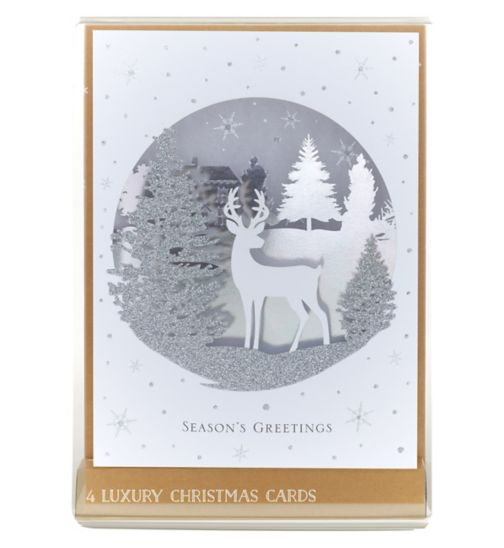 Boots Christmas Boxed Cards - High Premium Stag Winter Scene