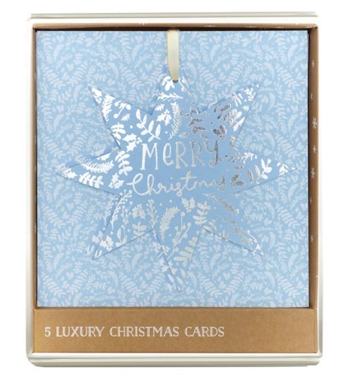 Boots Christmas Boxed Cards - Premium - Hanging Turquoise Star