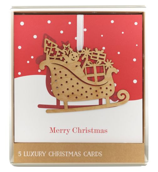 Boots Christmas Boxed Cards - Premium - Hanging Sleigh & Presents