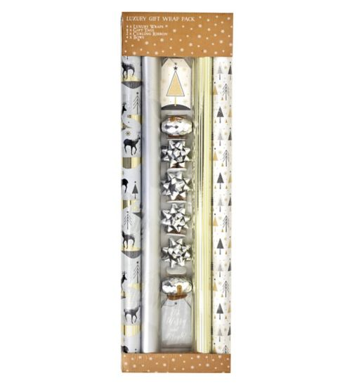 Boots Christmas Wrap - Silver Stag Quad Pack