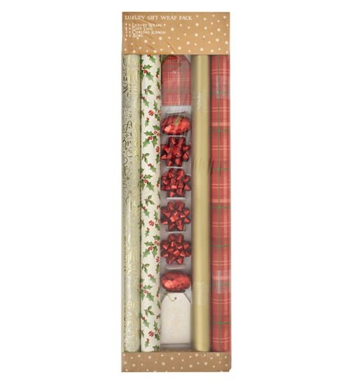 Boots Christmas Wrap - Red Tartan Quad Pack