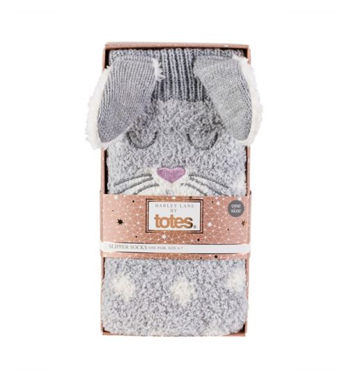 Barley Lane by Totes Bunny Slipper Socks With  Warm Lining
