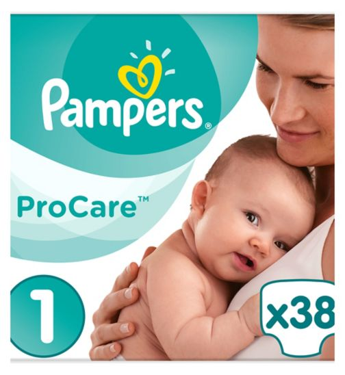 Pampers Procare Premium Protection Size 1, 38 Nappies, 2-5kg