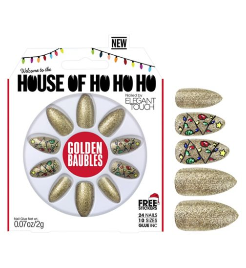 Elegant touch House of Holland Ho ho ho Nails  Golden Baubles