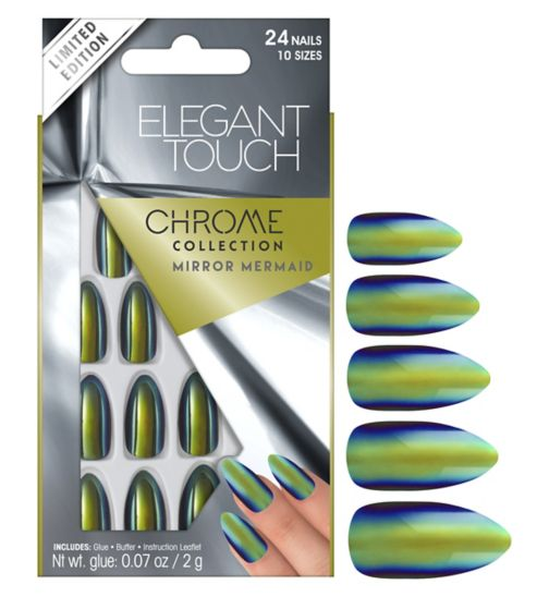 Elegant touch Chrome Nails  Mirror Mermaid