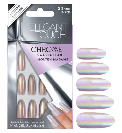 Elegant touch Chrome Nails  Molten Madame