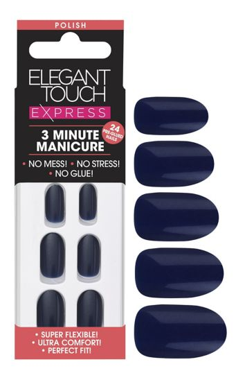 Elegant touch Express Seasonal Nails  Navy Shimmer