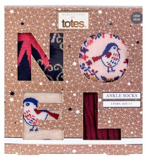 Barley Lane by Totes Ankle Socks 4 pairs