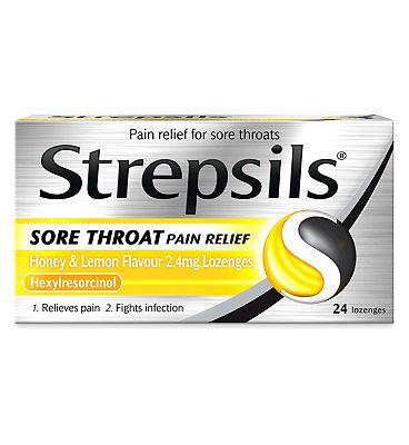 Strepsils Sore Throat Pain Relief Honey & Lemon Flavour - 24 lozenges