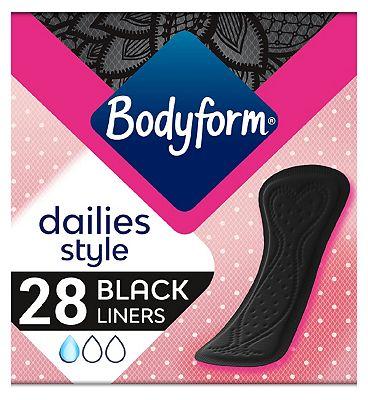 Bodyform Black Panty Liners Normal x28