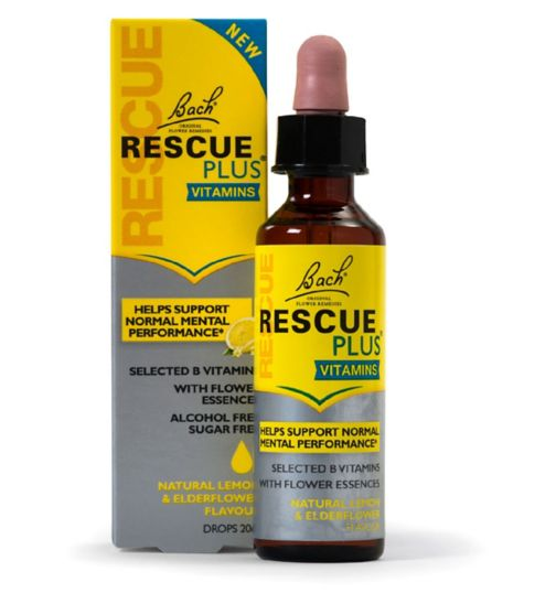 Bach Rescue Remedy PLUS Vitamins Dropper 20ml Natural Lemon and Elderflower Flavour