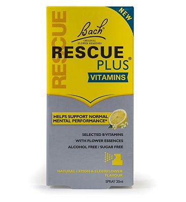 Bach Rescue Remedy PLUS Vitamins Spray 20ml Natural Lemon and Elderflower