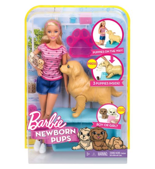 BARBIE Newborn Pups Pet and Doll