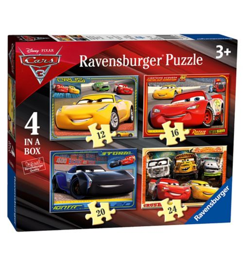 Disney Pixar Cars 3, 4 in a box (12, 16, 20, 24pc) Jigsaw Puzzles