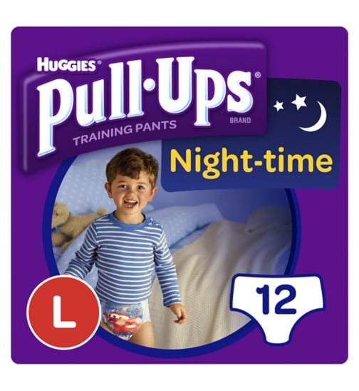 Huggies Pull Ups Night Time Potty Training Pants Boys Size Large (16-23kg, 35-50lbs) 12 Pants