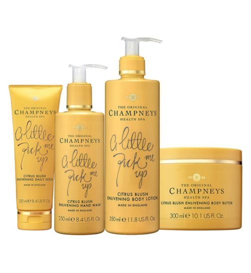 Champneys Citrus Blush Enlivening Body Butter 300ml;Champneys Citrus Blush Enlivening Body Butter 300ml;Champneys Citrus Blush Enlivening Body Lotion 350ml;Champneys Citrus Blush Enlivening Body Lotion 350ml;Champneys Citrus Blush Enlivening Daily Scrub 250ml;Champneys Citrus Blush Enlivening Daily Scrub 250ml;Champneys Citrus Blush Enlivening Hand Wash 250ml;Champneys Citrus Blush Enlivening Hand Wash 250ml;Champneys Summer Sizzler Bundle