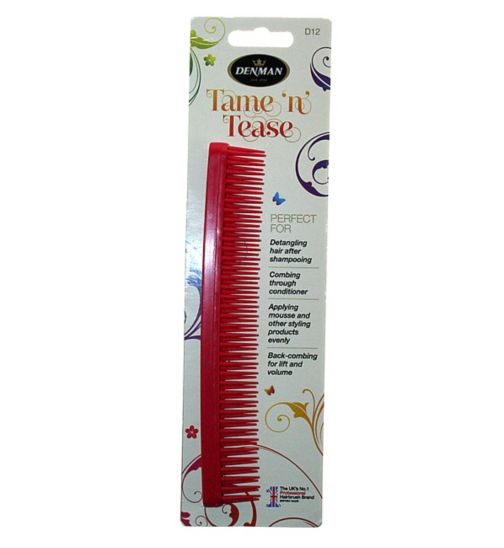 Denman D12 Tame 'n' Tease Comb - red