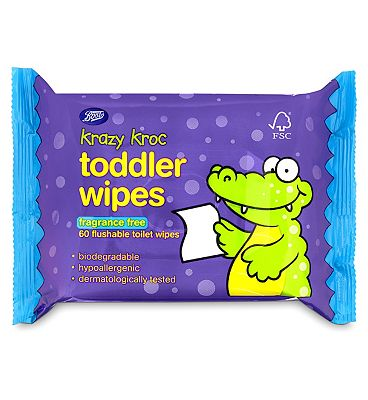 Krazy Kroc toddler wipes, fragrance free, single pack = 60 wipes