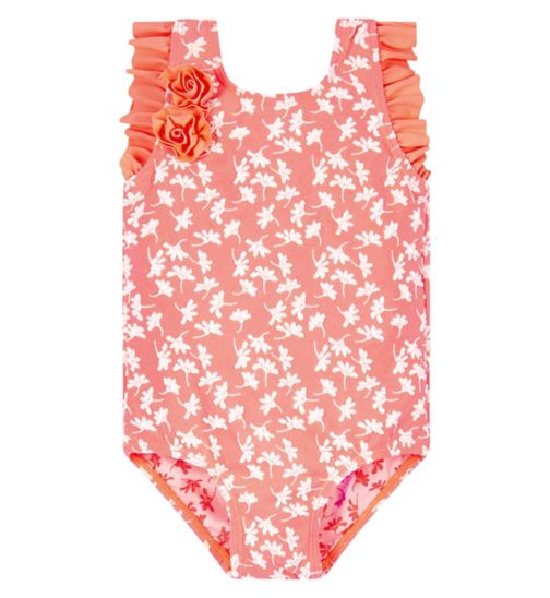 Mini Club Coral Swimsuit With Corsage