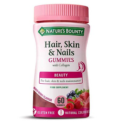 Nature's Bounty Hair, Skin & Nails 60 Mixed Berry Flavour Gummies