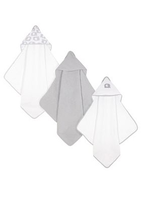 Mothercare Cuddle and Dry Towels - 3pk - Grey Elephant
