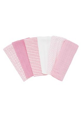 Mothercare Patterned Muslin Cloths - 6k - Pink