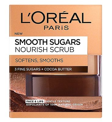 l'oreal paris smooth sugar nourish cocoa face and lip scrub 50ml