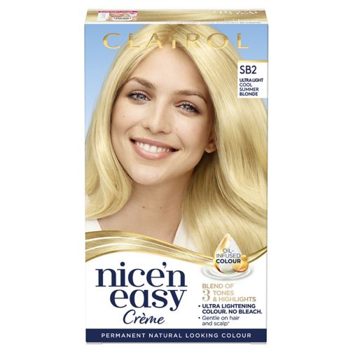 Clairol Nice n Easy Permanent Hair Dye SB2 Ultra Light Cool Summer Blonde