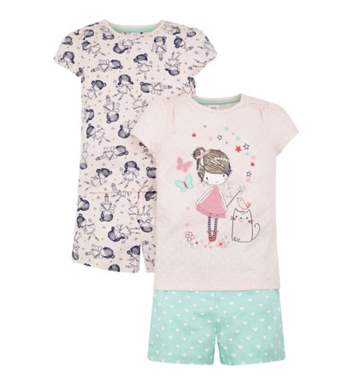 Mini Club 2 Pack Shortie Pyjamas