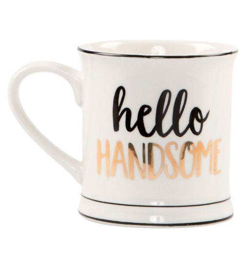 Sass & Belle Metallic Monochrome Hello Handsome Mug