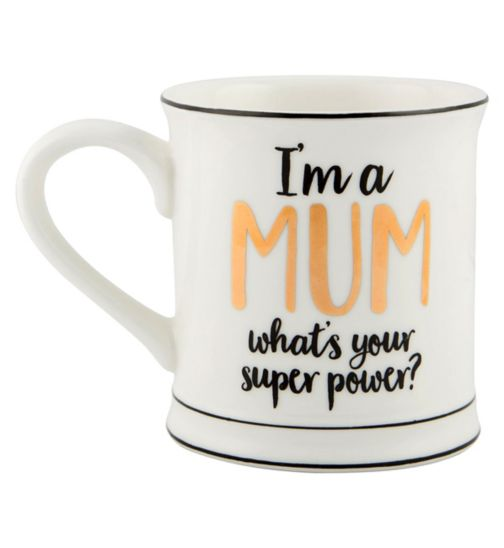 Sass & Belle Metallic Monochrome I'm A Mum What's Your Superpower Mug