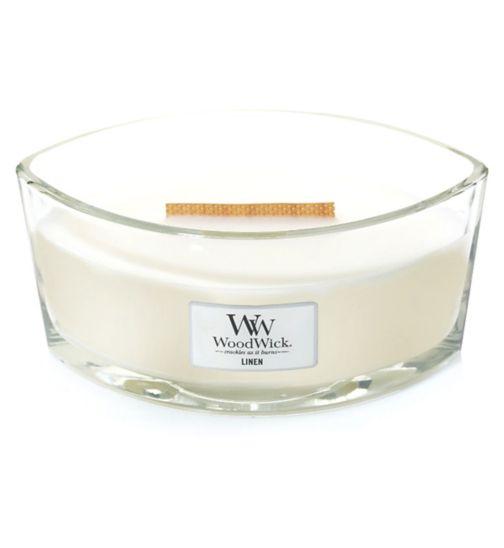 WoodWick linen hearthwick candle