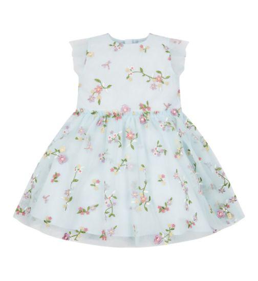 Mini Club All Dressed Up Mint Embroidered Dress