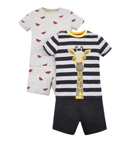 Mini Club 2 Pack Giraffe Shorts Pyjama