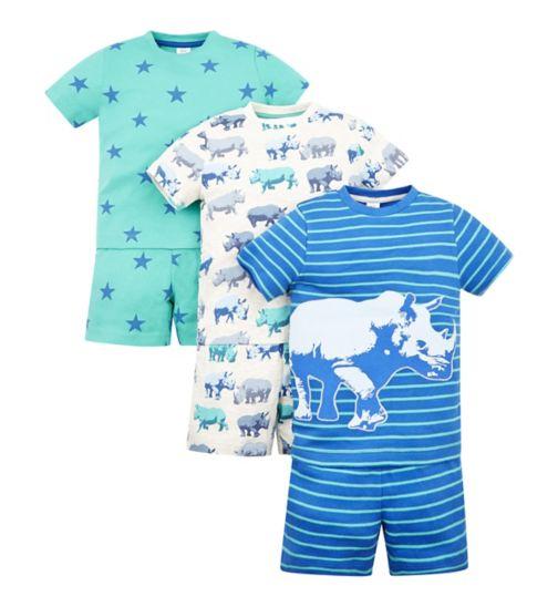 Mini Club 3 Pack Rhino Shorts Pyjama