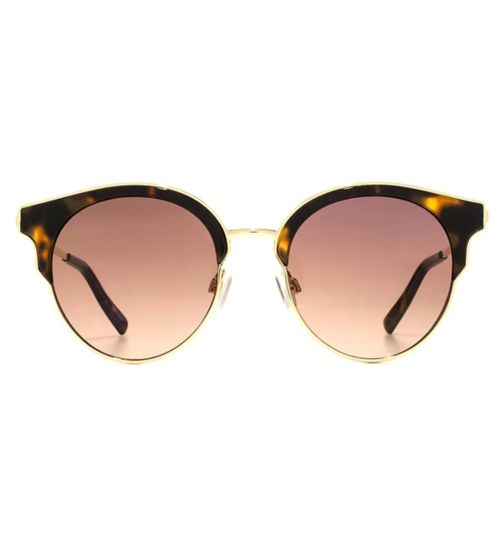 French Connection Womens Round Gold Metal and Tortoiseshell Sunglasses