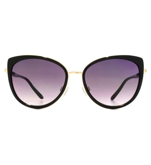 French Connection Womens Gold and Black Butterfly Sunglasses