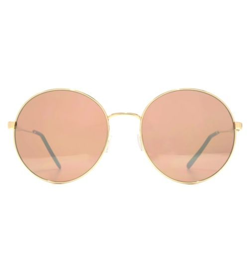 French Connection Womens Oversized Light Gold Metal Round Sunglasses