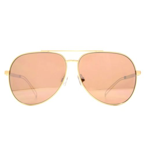French Connection Womens Matt Rose Gold Oversized Aviator Sunglasses